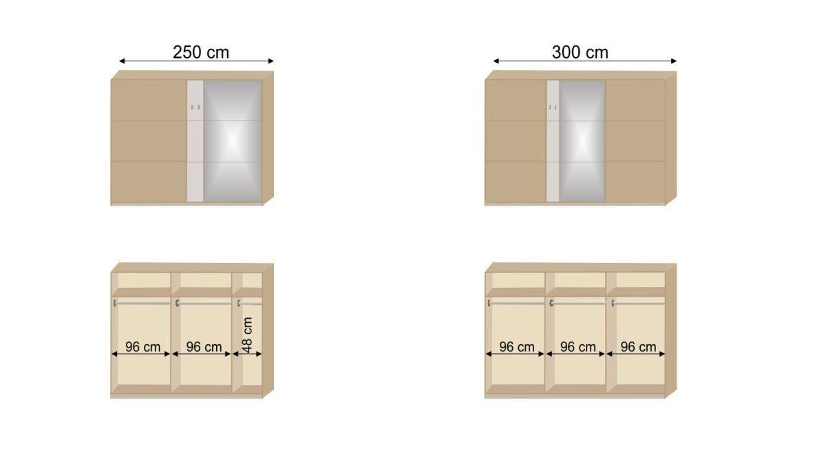 Grafik zur Innenausstattung des Schwebetüren-Kleiderschranks Pomona
