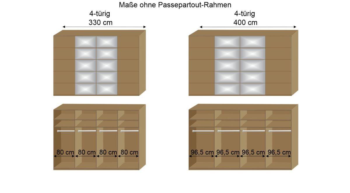 Inneneinteilung des 330 und 400 cm breiten Schwebetüren-Kleiderschranks Praia