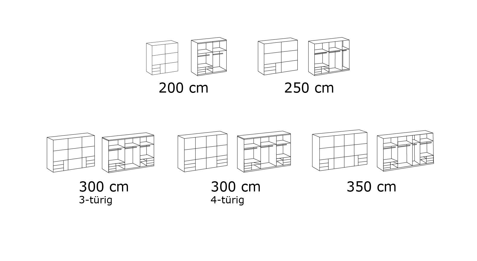 Grafik zum 216 cm hohen Schwebetüren-Kleiderschrank Raca