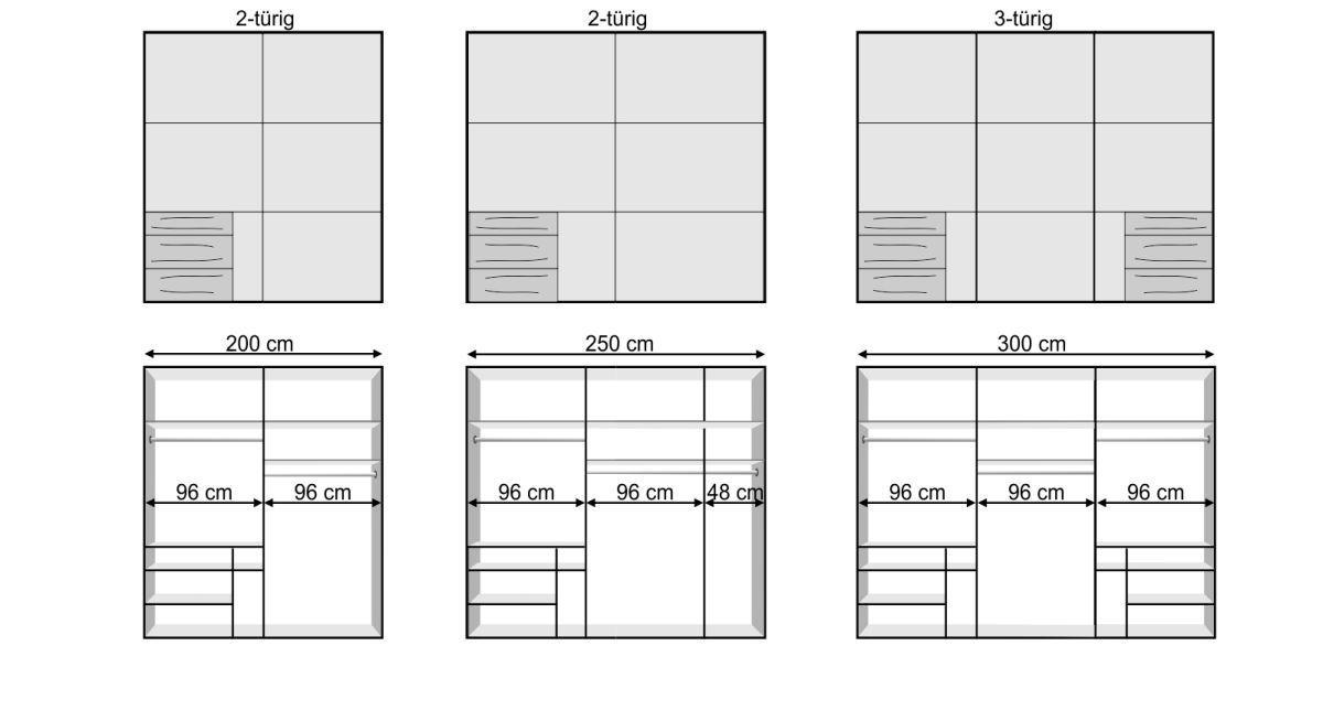 Grafik zum 236 cm hohen Schwebetüren-Kleiderschrank Raca