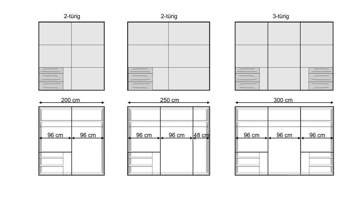 Grafik zu den Maßen von Schwebetüren-Kleiderschrank Raca