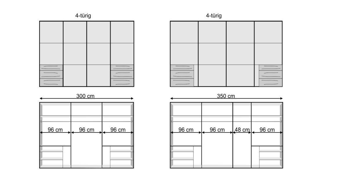 Übersichts-Grafik zur Bemaßung vom Schwebetüren-Kleiderschrank Raca
