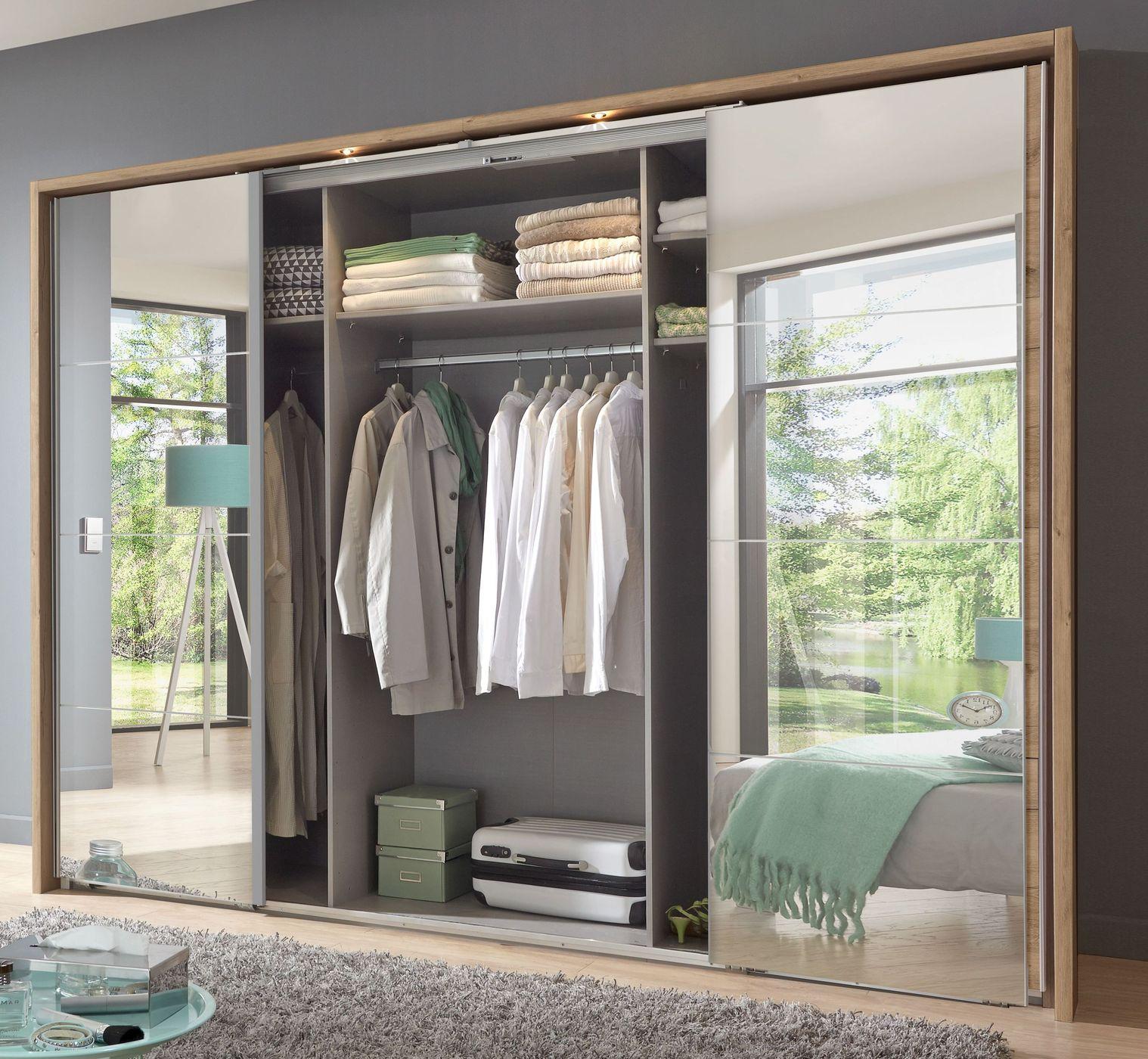 kleiderschrank in plankeneiche dekor mit spiegelfront rovito. Black Bedroom Furniture Sets. Home Design Ideas