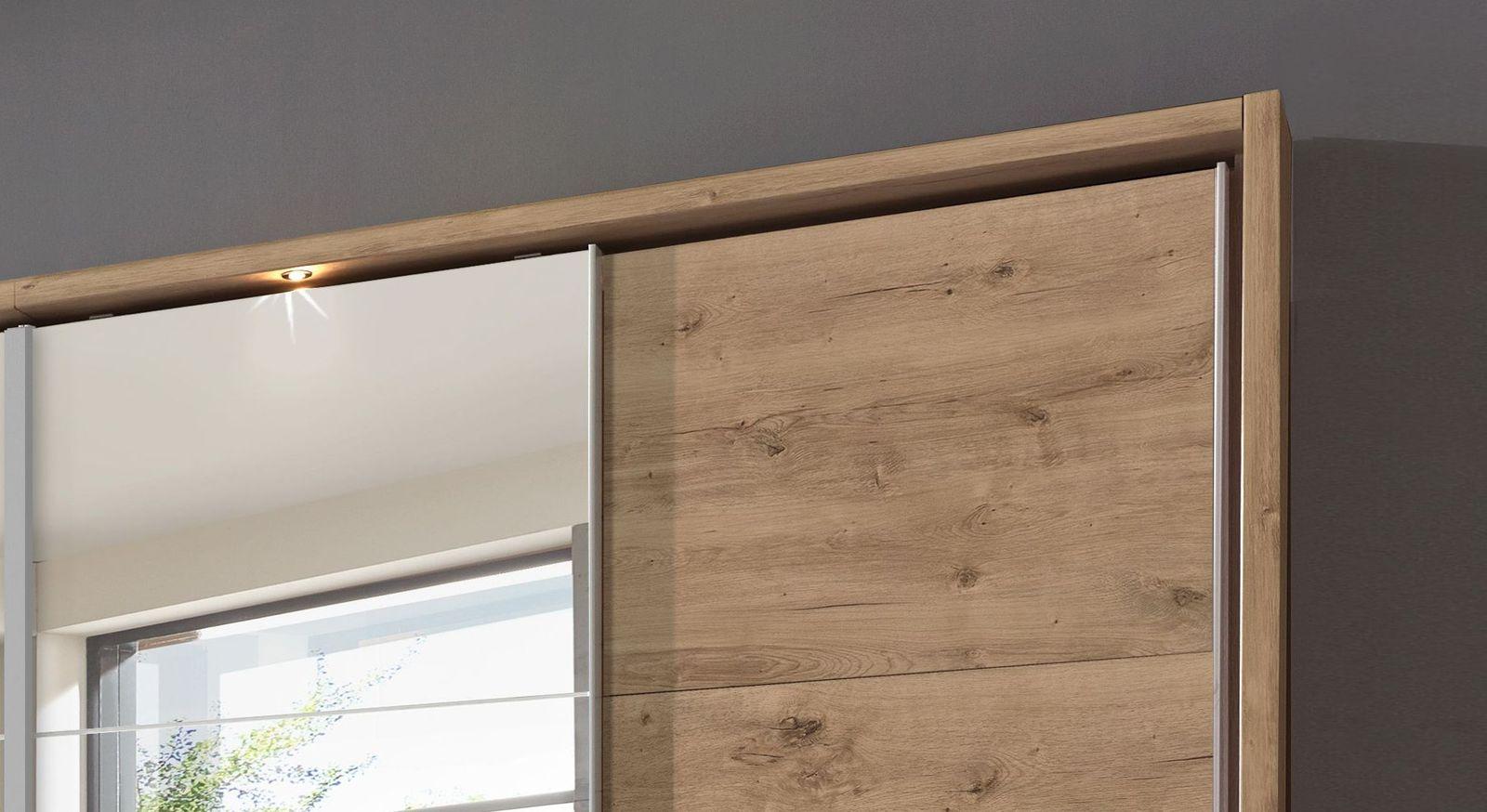 Schwebetüren-Kleiderschrank Rovito optional mit Beleuchtung und Umrahmung