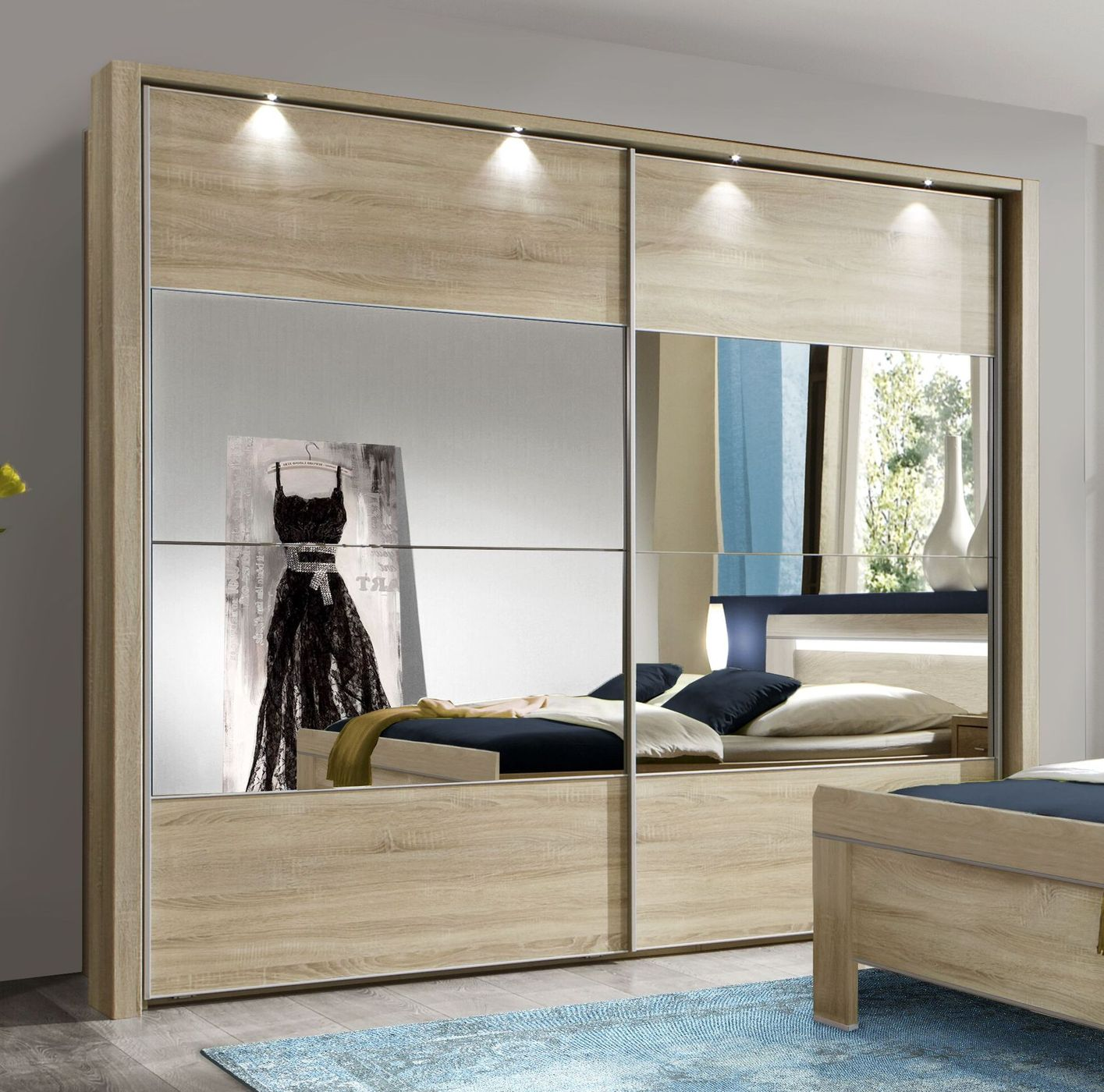 schiebet ren kleiderschrank in eiche dekor mit spiegel seymour. Black Bedroom Furniture Sets. Home Design Ideas