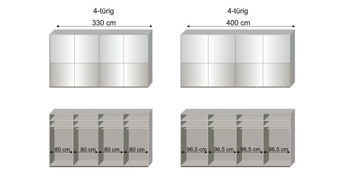Maßgrafik zur 4. Inneneinteilung des Schwebetüren-Kleiderschranks Shanvalley