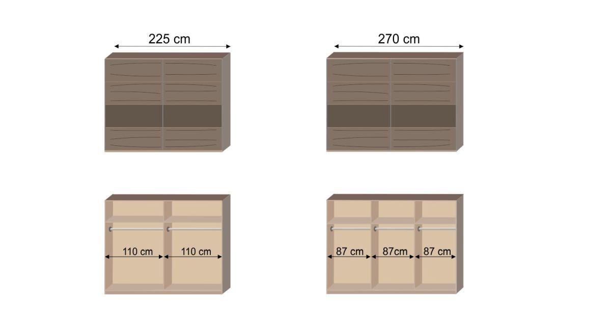 Bemaßungsgrafik zur Inneneinteilung des Schwebetüren-Kleiderschranks Sontra