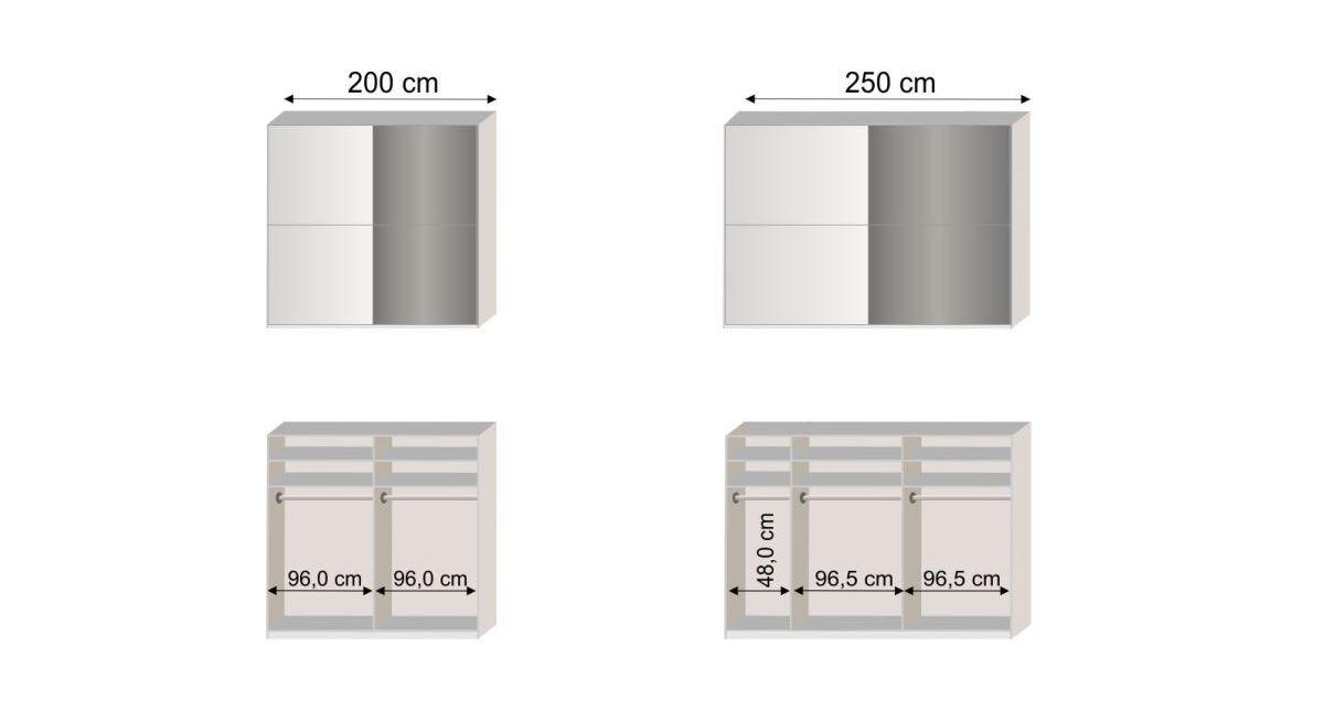 Grafik zur Inneneinteilung des Schwebetüren-Kleiderschranks Taipana