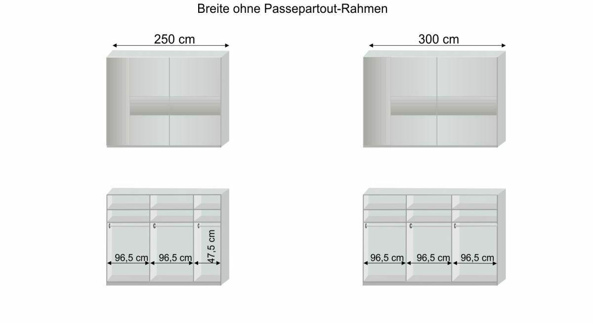 Grafik zur Innenausstattung des Schwebetüren-Kleiderschranks Waterbury