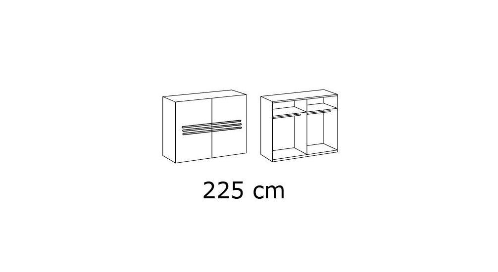 Grafik zur Inneneinteilung des Schwebetüren-Kleiderschranks mit Zierleisten