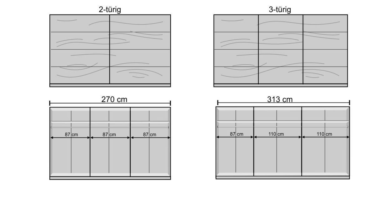 Schwebetüren-Kleiderschrank Loanos Bemaßungsgrafik
