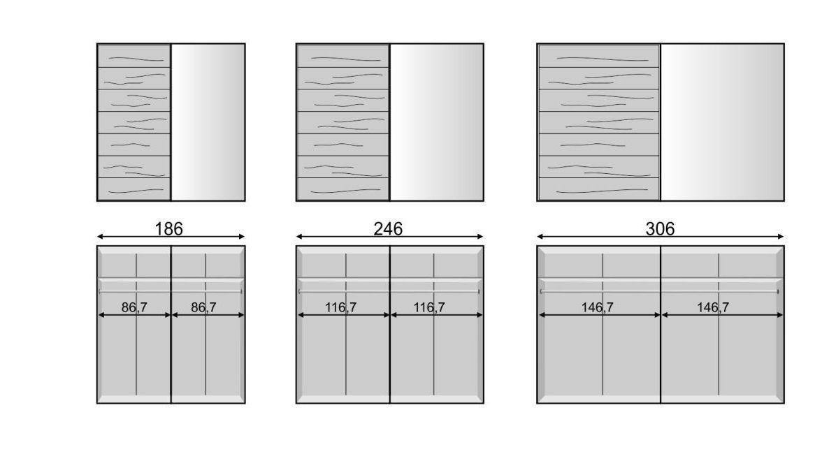 Schwebetüren-Kleiderschrank Roseville mit Grafik zur Breitenansicht