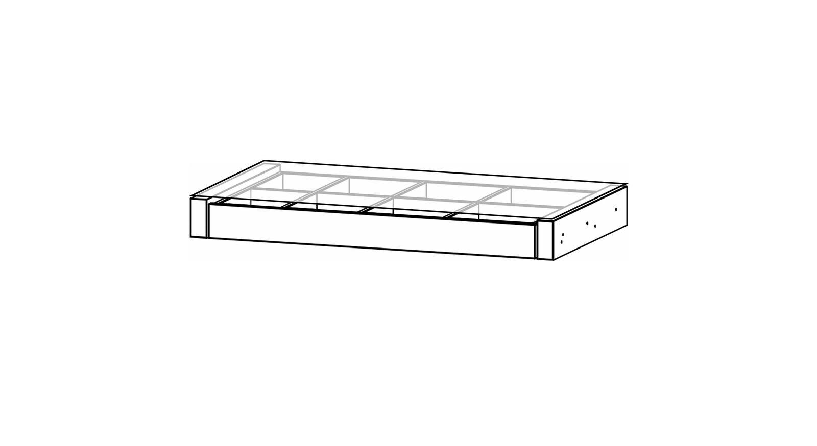 Schwebetüren-Schrank-Zubehör Eleisa - Auszugsboden mit Schubladeneinteilung und Glasaufsatz