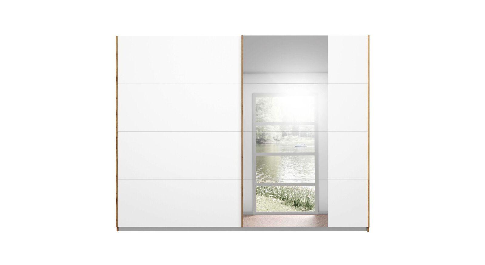 Moderner Schwebetüren-Kleiderschrank Sedina mit weißer Front