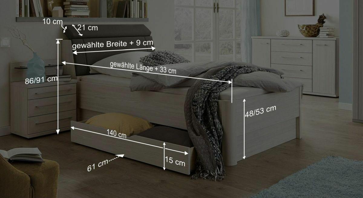 Bemaßungsgrafik zum Senioren-Schubkastenbett Usingen