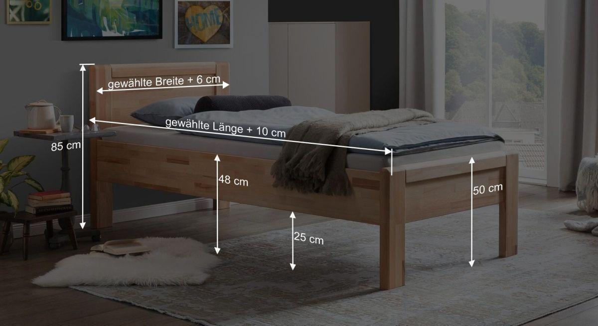 Bemaßungsgrafik zum Seniorenbett Ewen
