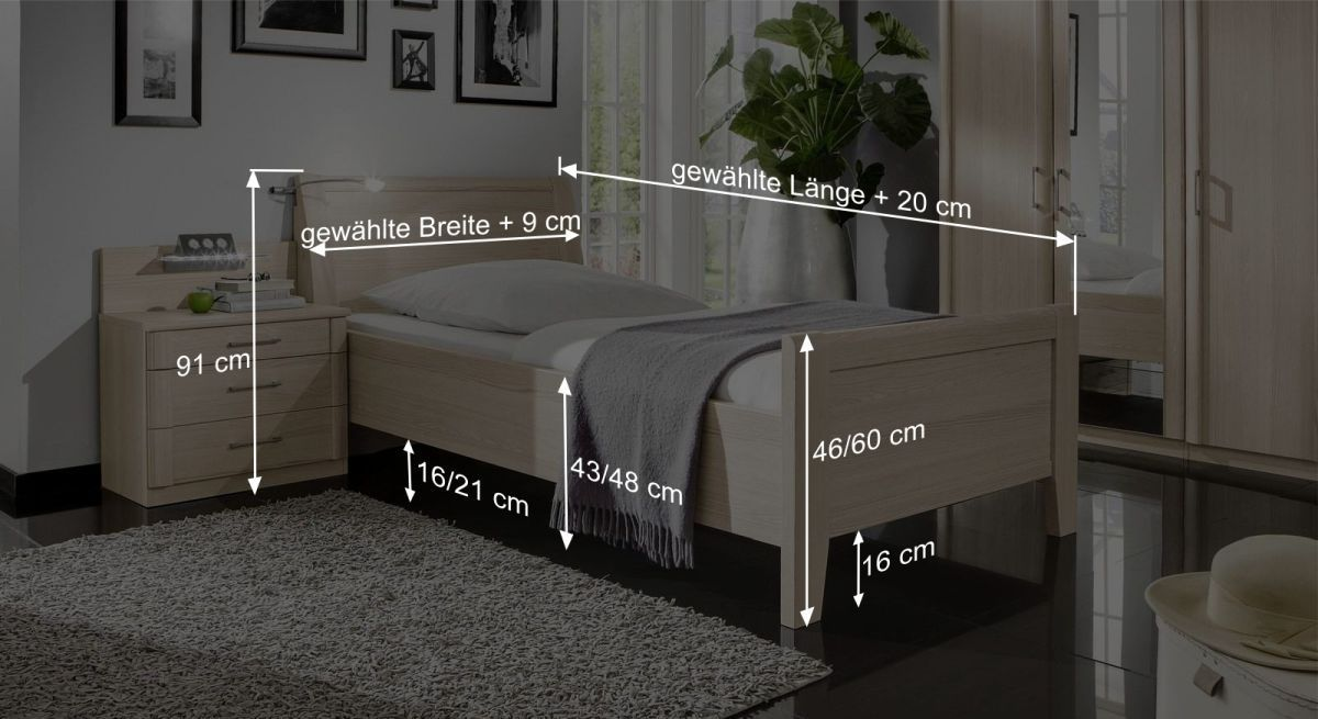 Bemaßungsgrafik zum Seniorenbett Montego