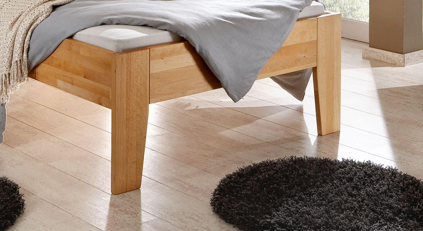 Seniorenbett Tessin Buche natur Komforthöhe Bettbeine Füße aus Massivholz