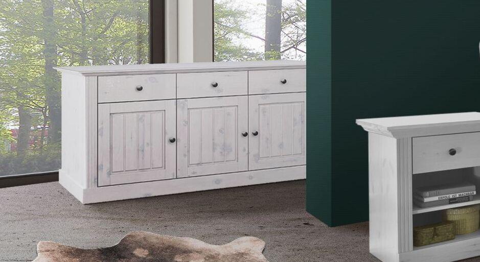 Weißes Sideboard Liska im Landhaus-Design