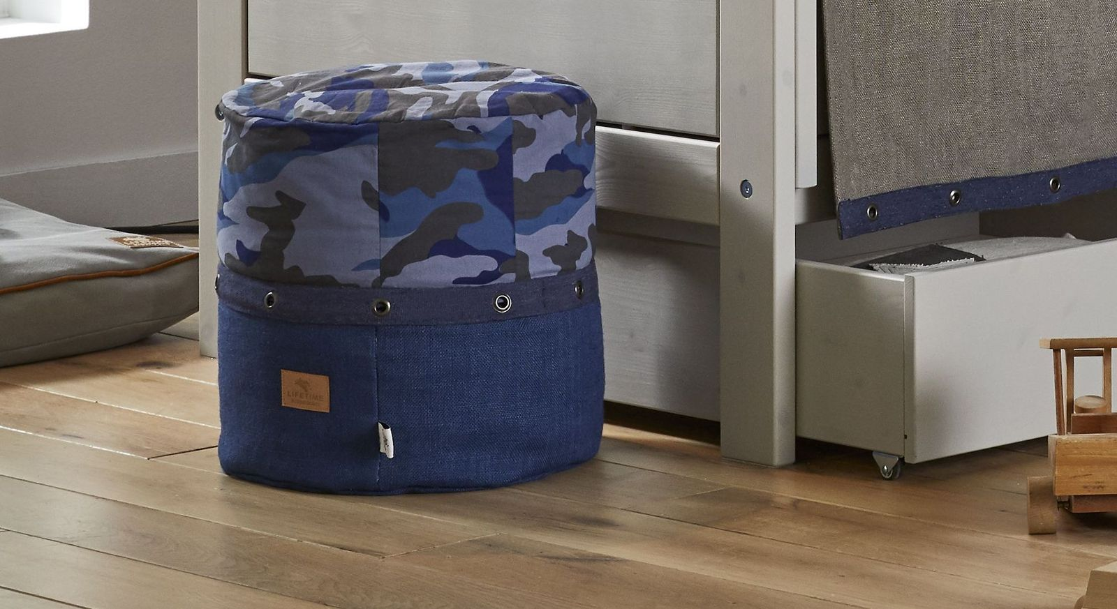LIFETIME Sitzpouf Camouflage in Blau