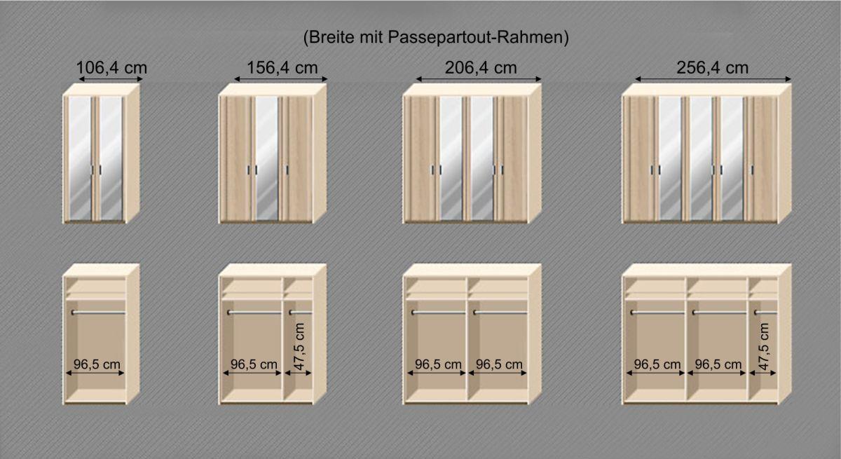 Grafik zur Inneneinteilung des Spiegeltüren-Kleiderschranks Farim
