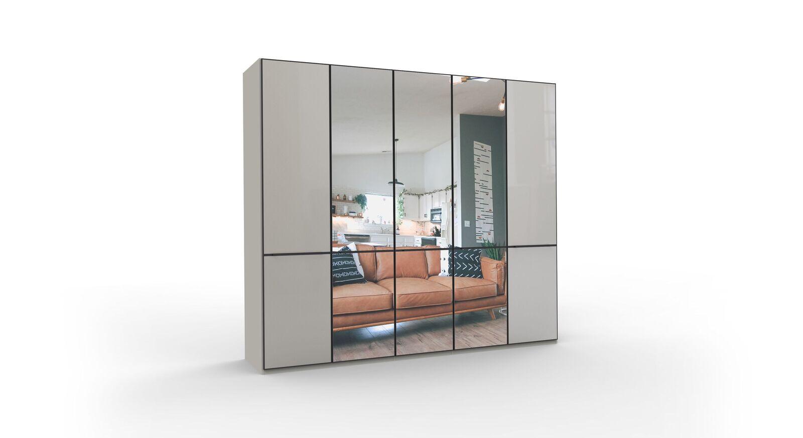 5-türiger Spiegel-Drehtüren-Kleiderschrank Loyd