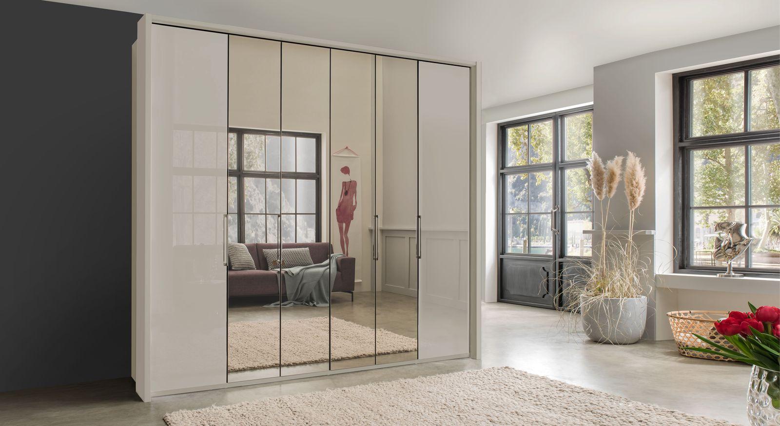 Spiegel-Falttüren-Kleiderschrank Northville aus champagnerfarbenem Glas