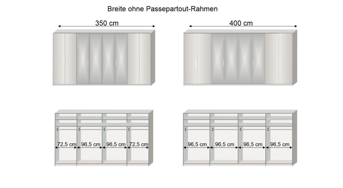 Grafik zur Inneneinteilung des 350 und 400 cm breiten Spiegel-Falttüren-Kleiderschranks Westville