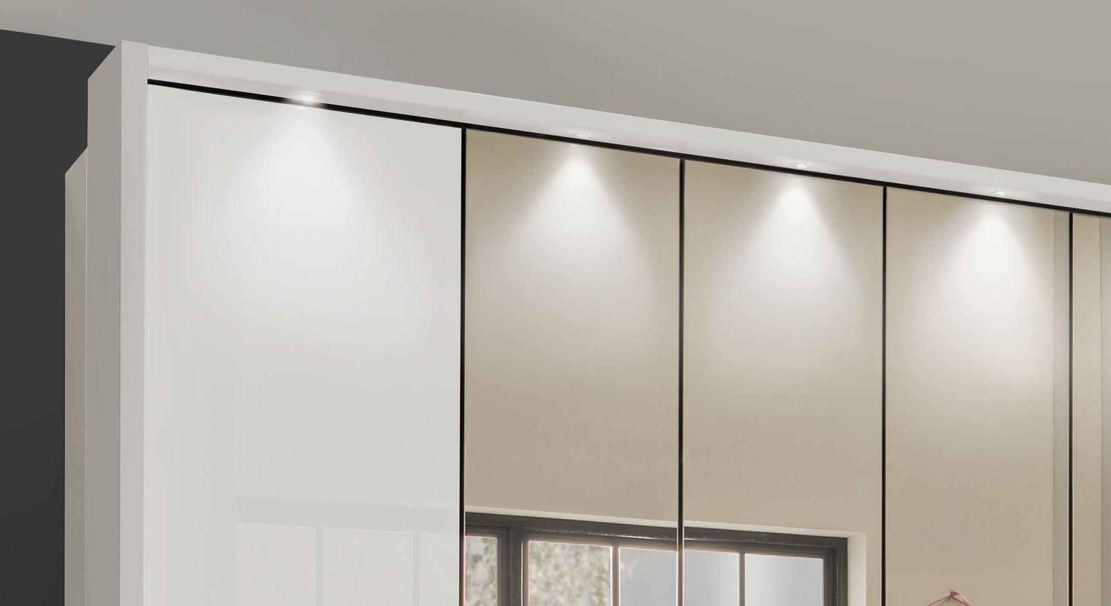 Spiegel-Falttüren-Kleiderschrank Westville mit LED-Spotbeleuchtung