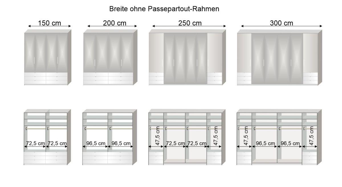 Grafik zur Inneneinteilung des Spiegel-Funktions-Kleiderschranks Westville in 150-300 cm Breite