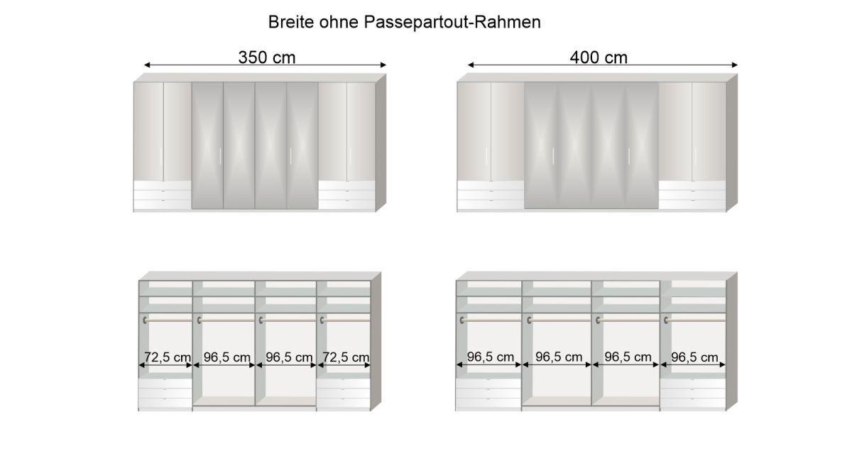 Grafik zur Inneneinteilung des Spiegel-Funktions-Kleiderschranks Westville in 350 und 400 cm Breite