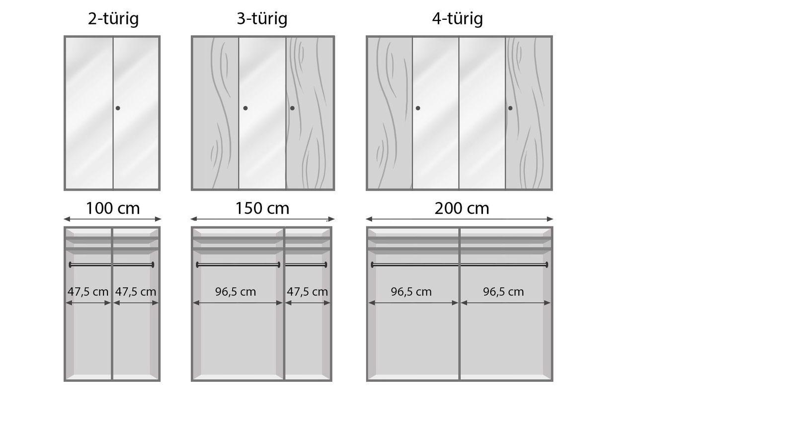 Spiegel-Kleiderschrank Aliano mit Infografik zur Inneneinteilung