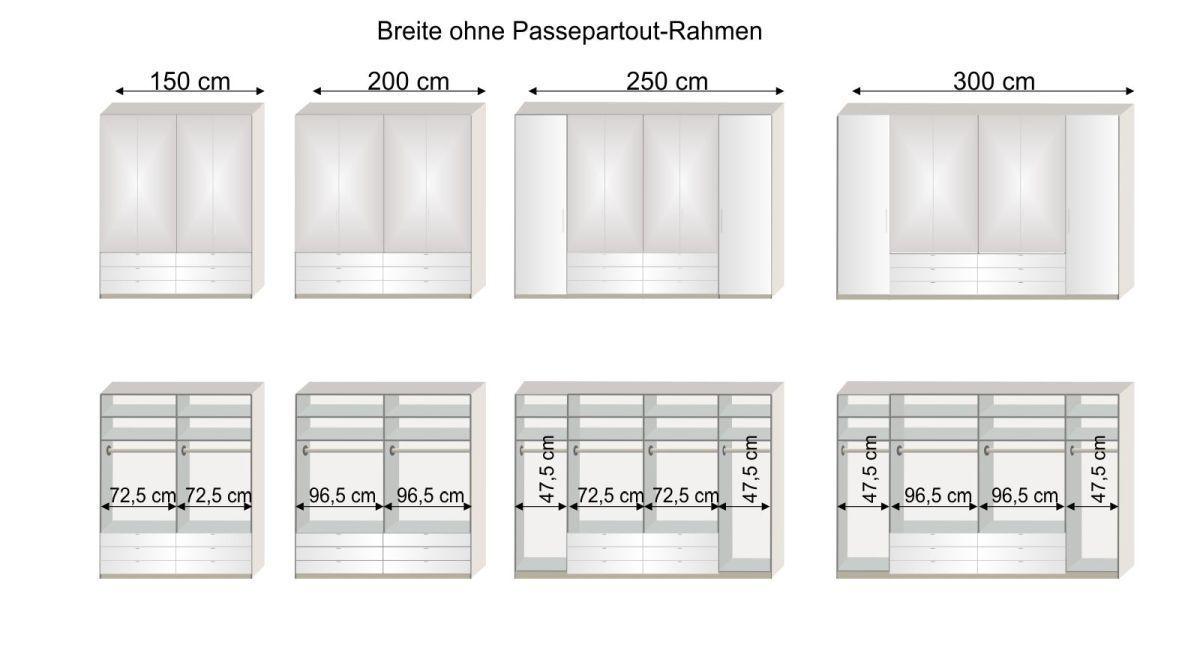 Grafik zur Inneneinteilung des Spiegel-Kleiderschranks Elmira 150 bis 300 cm Breite