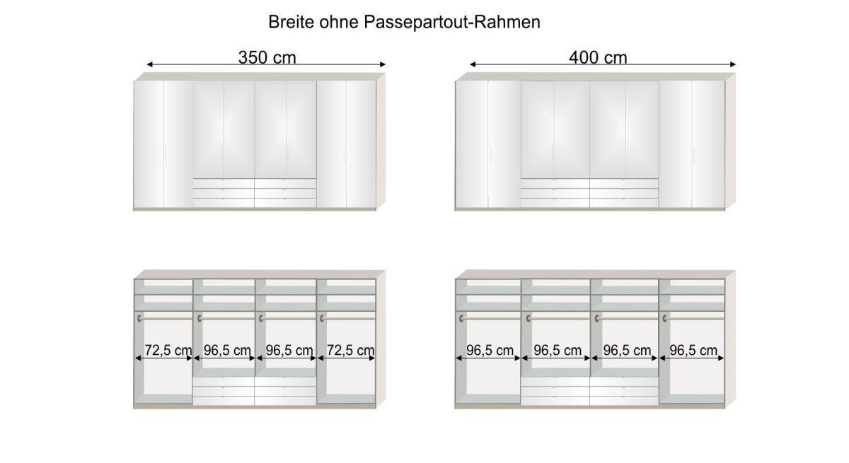 Grafik zur Inneneinteilung des Spiegel-Kleiderschranks Elmira in den Breiten 350 und 400 cm