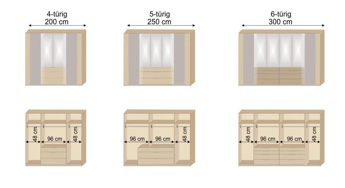 Grafig der Inneneinteilung des Spiegel-Kleiderschranks Hayward