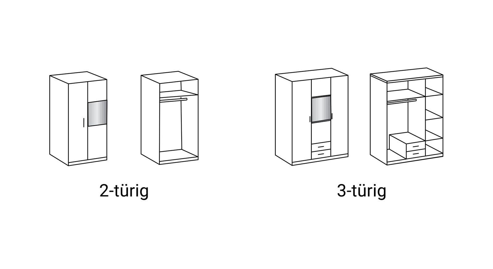 Grafik zur Inneneinteilung des Spiegel-Kleiderschranks Lajana