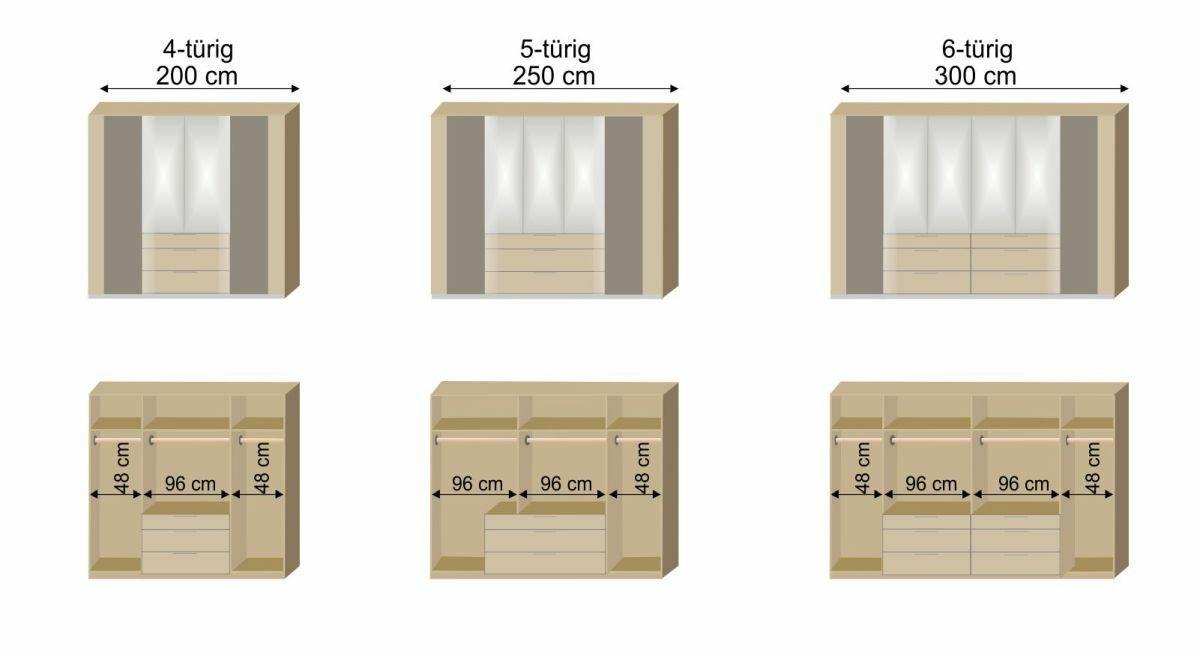 Grafik zur Inneneinteilung des Spiegel-Kleiderschranks Naila
