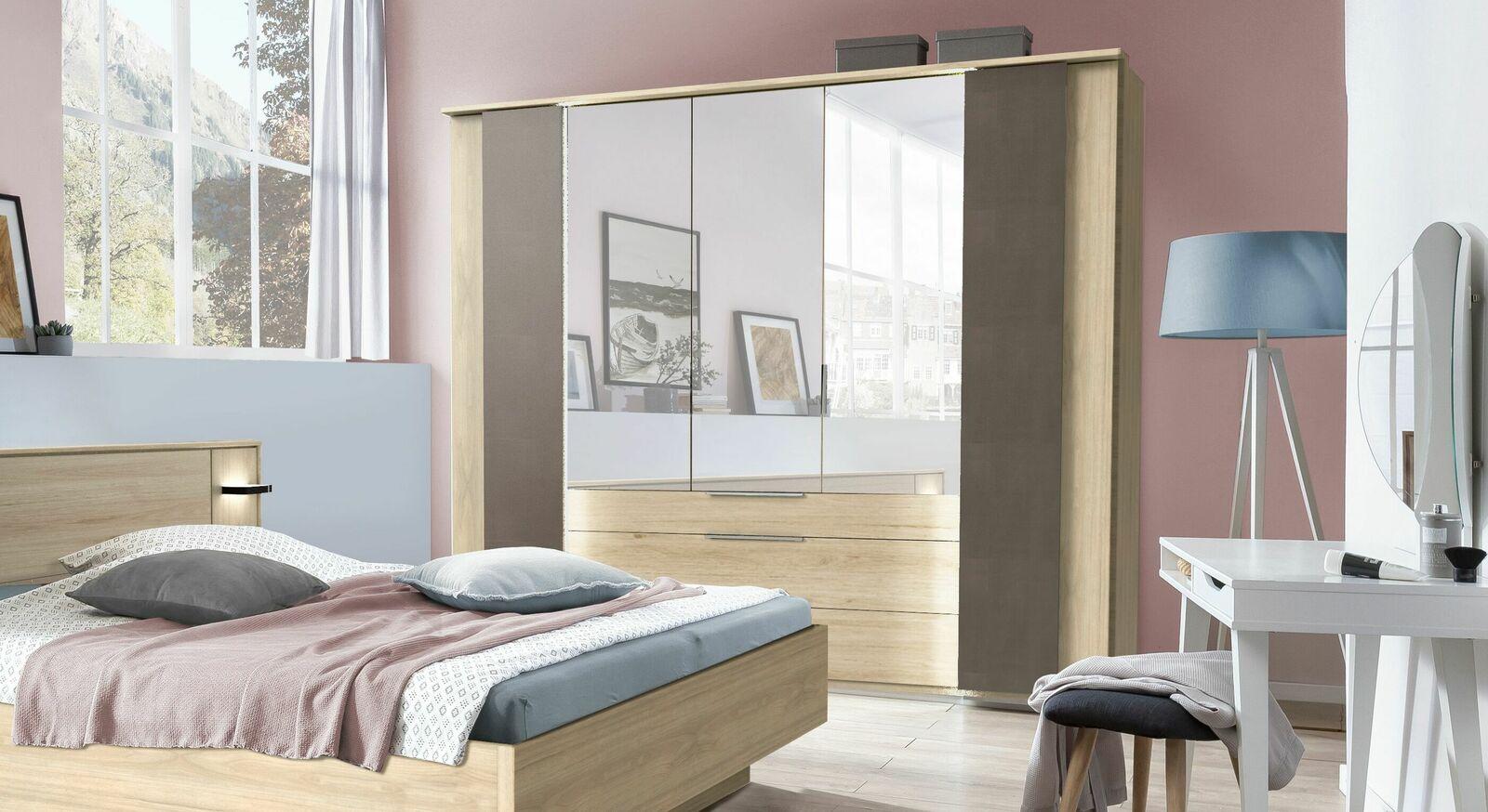 Spiegel-Kleiderschrank Naila mit Koffertüren in Raw Steel Dekor
