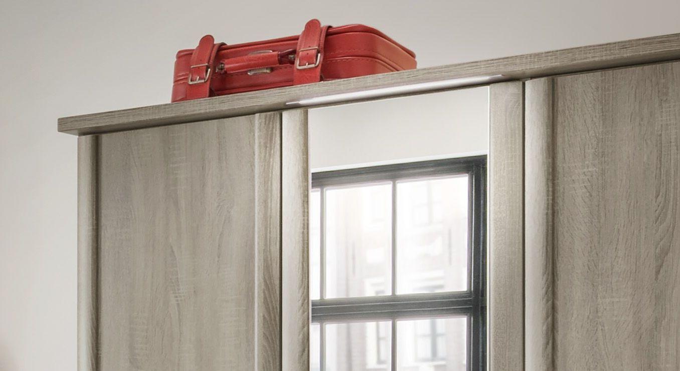 Spiegel-Kleiderschrank Troia mit Dekor-Abschlussleiste