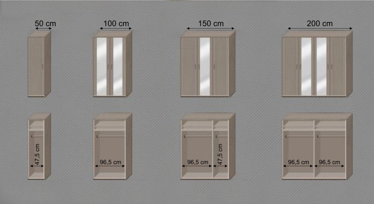 Spiegel-Kleiderschrank Troia mit Grafik zur Inneneinteilung