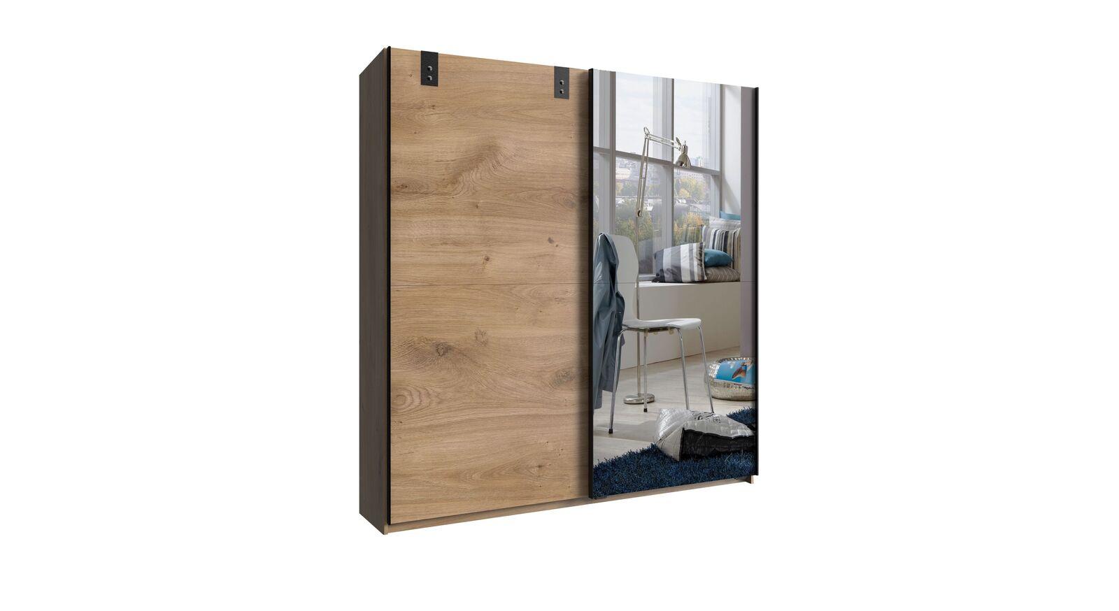 Spiegel-Schwebetüren-Kleiderschrank Nolan in der breiten Variante