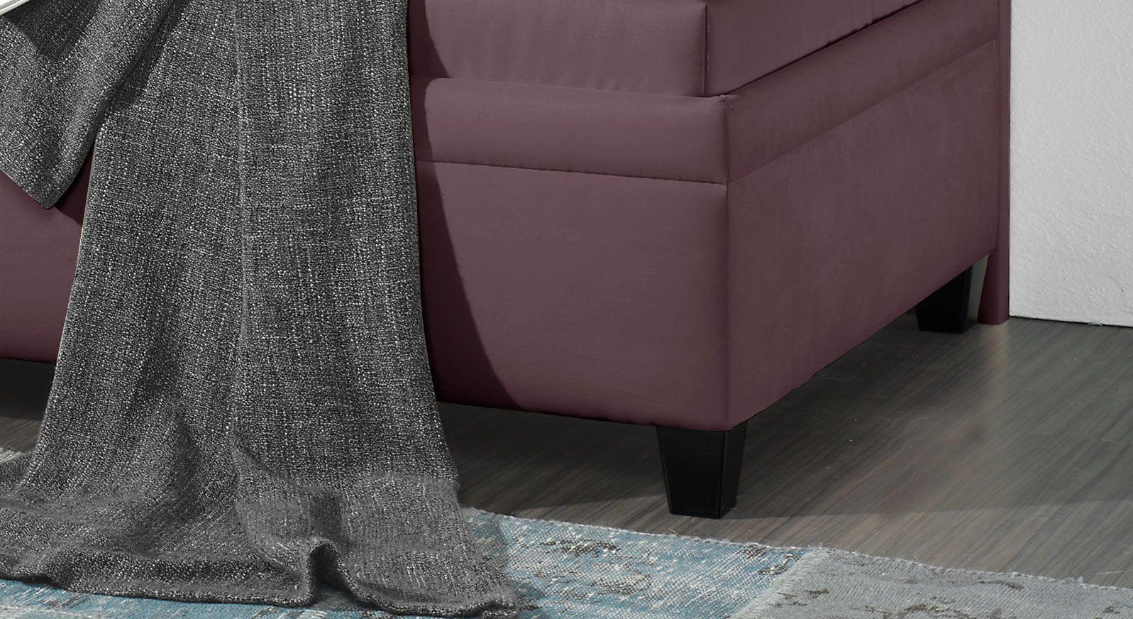 Studioliege Kamina mit schwarz lackierten Holzfüßen