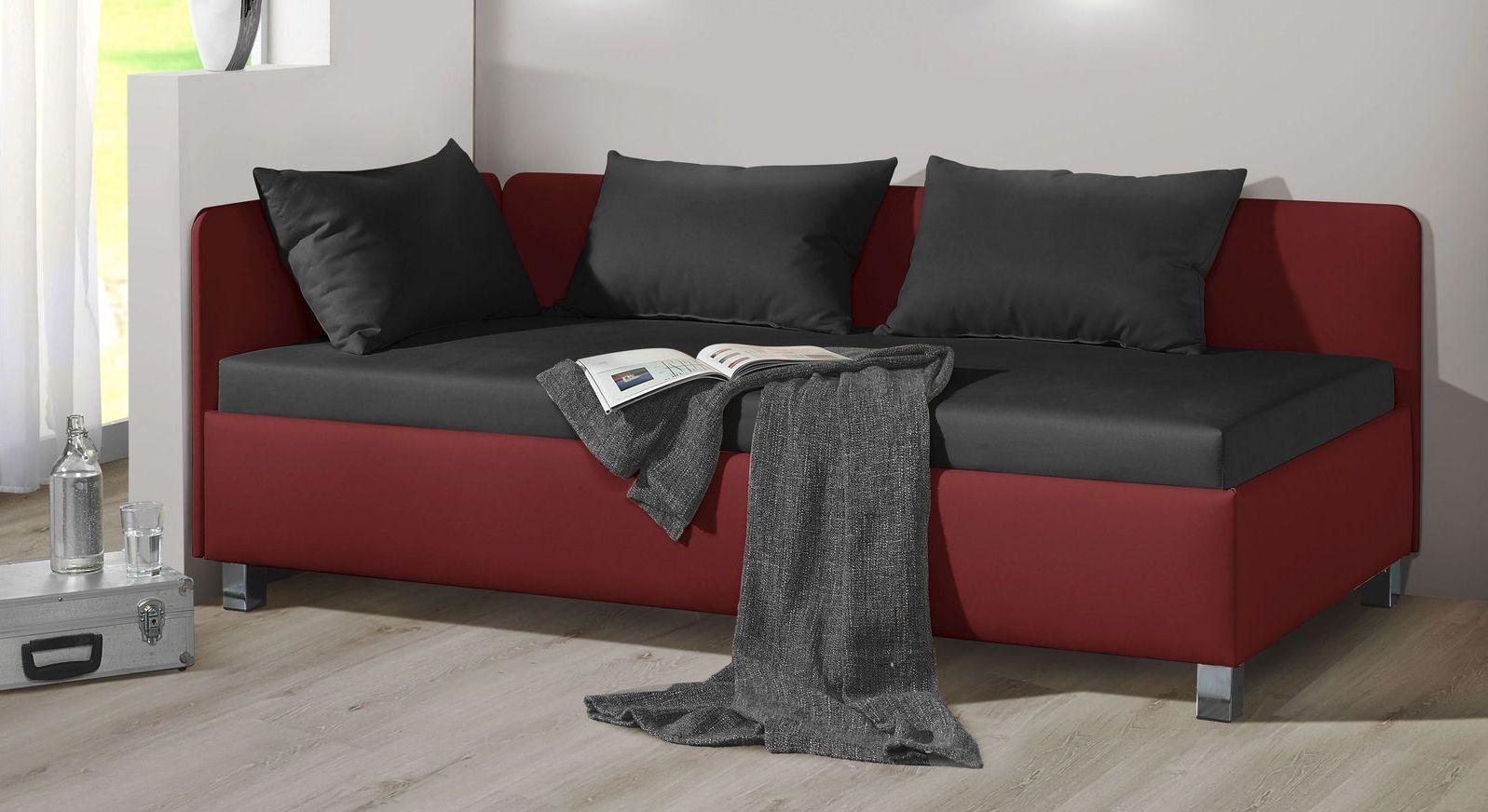 Studioliege Lisala aus dunkelrotem Kunstleder und schwarzem Microvelours