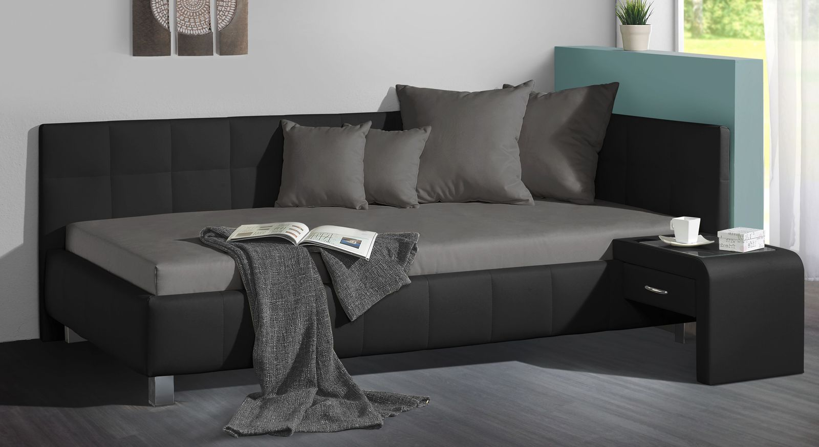 Studioliege Nuca in der Farbkombination schwarz und dunkelgrau