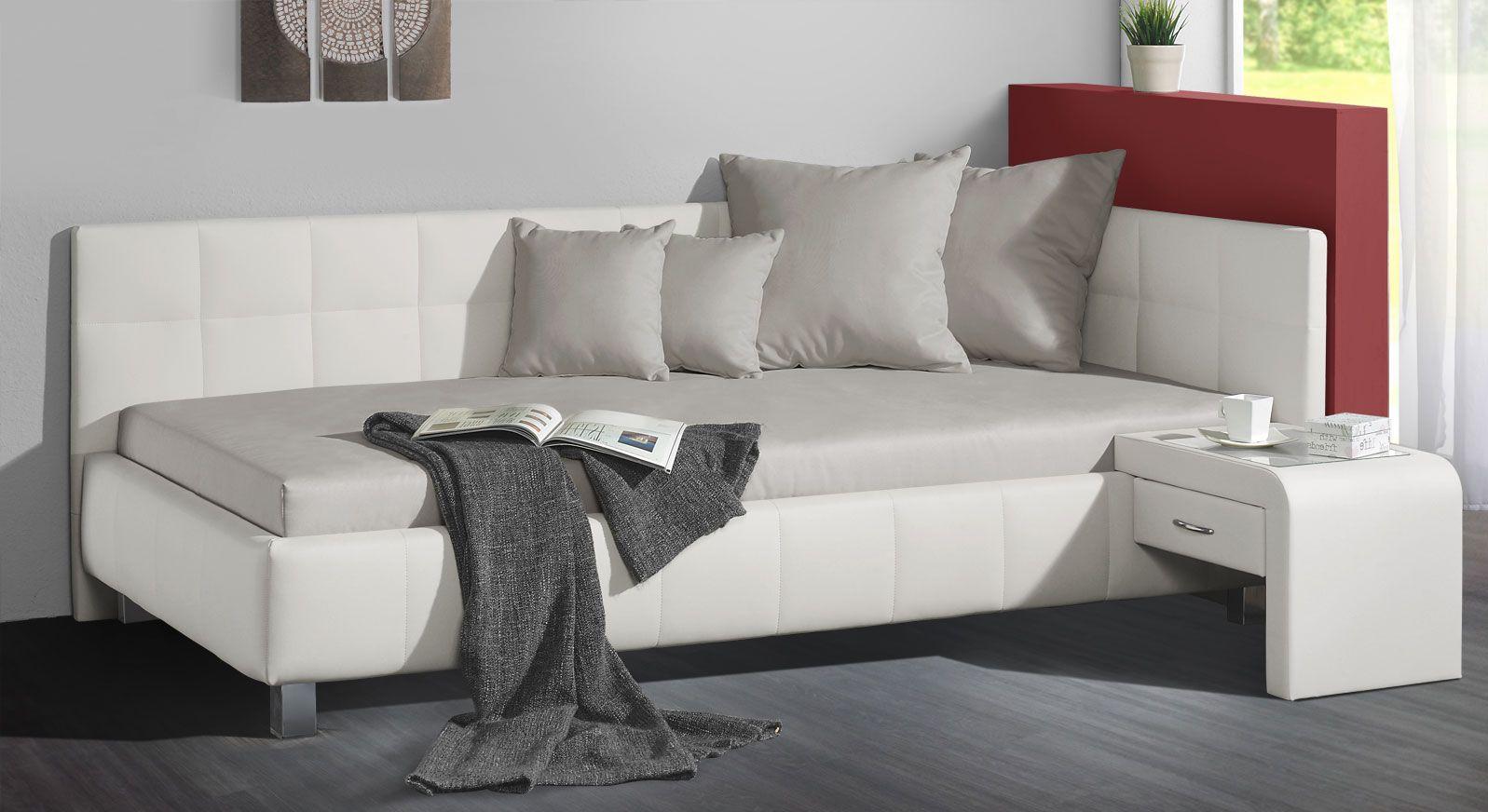 Studioliege Nuca in der Farbkombination weiß und hellgrau