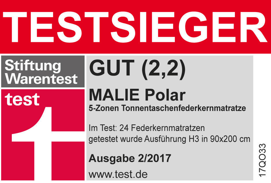 federkern matratze stiftung warentest testsieger 2017 malie polar. Black Bedroom Furniture Sets. Home Design Ideas