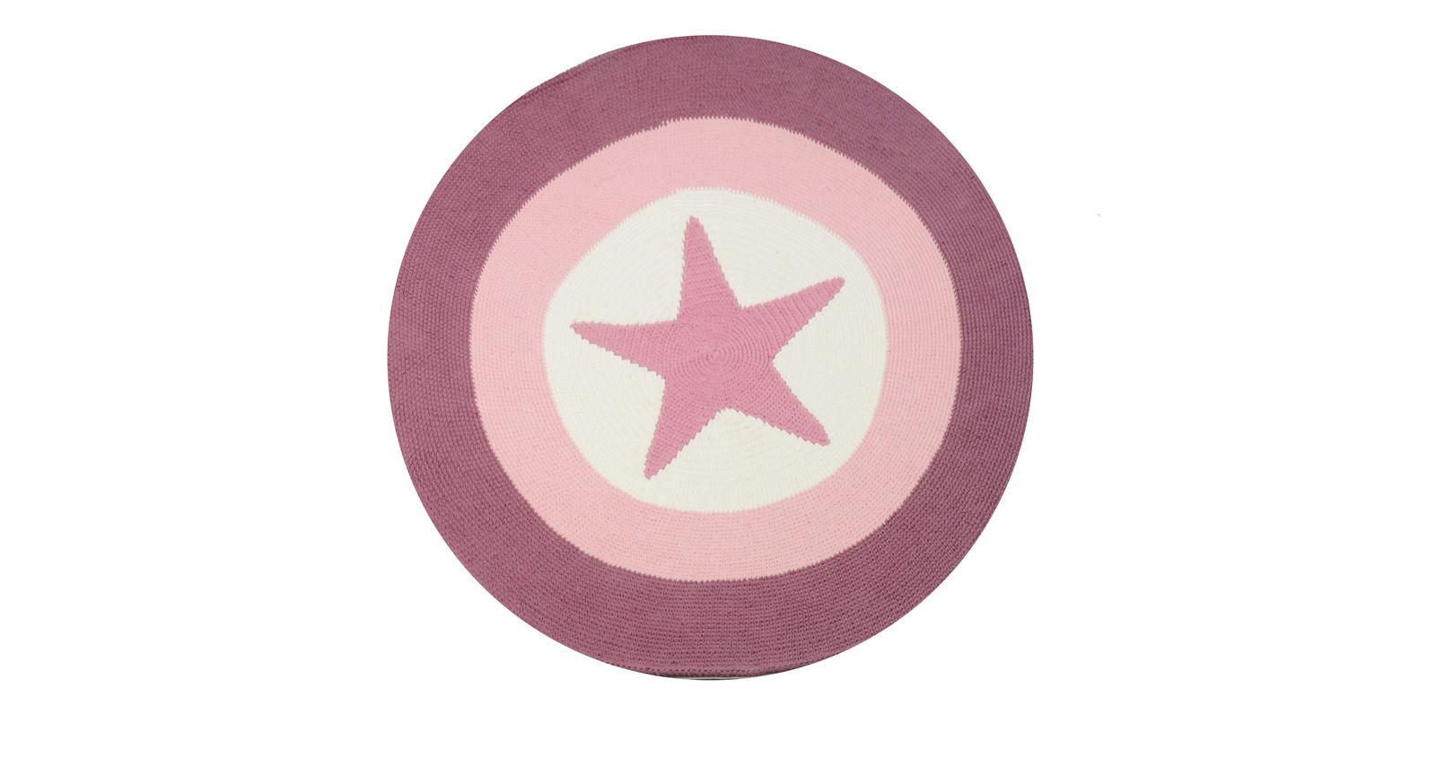 Runder LIFETIME-Teppich mit Stern und 120 cm Durchmesser in Rosé
