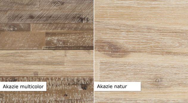 Vergleich der Akazienmöbel in Natur und Multicolor