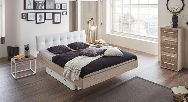 Akazienbett Lemi mit passenden Schlafzimmer-Möbeln