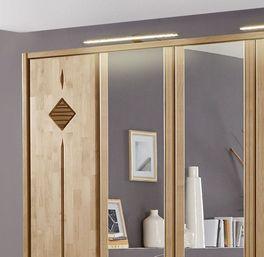 Spiegel-Kleiderschrank Aliano mit dunklen Zierfräsungen